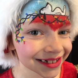 Snoopy Christmas face paint